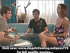 Brunette amateur babe having gangbang sex
