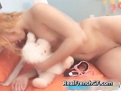 Dildoing french teenaged in pink panties part4