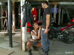 Skin Diamond takes big cock in her garage