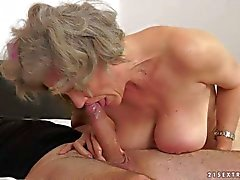 Big breasted granny Aliz gets slam fucked