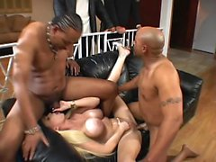 Blonde wife has a threesome with other men while hubby stands there