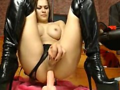 Filthy slut in monster shoes dildo fun on livecam