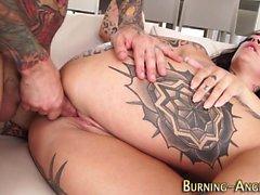 Busty tattoo babe rides