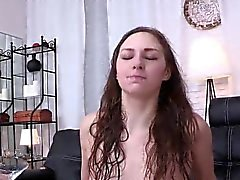 Luscious girl is pissing and rubbing shaved fuckbox