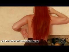 Paige _ Hot redhead babe playing with her natural ass and boobs