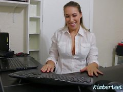 Secretary Kimber Lee Wipes Stockings & Feet on Boss's Desk!