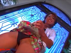 Asian whore schoolgirl is getting scored by a black monster prick in multiple poses