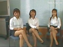 5 Girls In White Shirt Black Skirt Giving Handjob Footjob For A Guy On The Floor