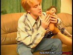 Cougar enjoys his stocking fetish