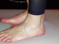 Cruel barefoot cockcrush dance with cumshot