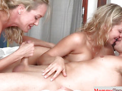 Bigtitted taboo stepmom fucking in three-some