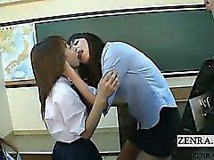 Japanese Schoolgirls entretiens enseignant de baiser sous titré