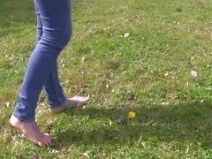 Ella jolie feet in grass