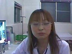 Asian nurse gives blowjob treatment