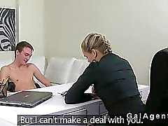 Female agent in stockings pounded on casting