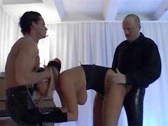 BDSM - Blonde Slavegirl Satisfying 2 cocks.