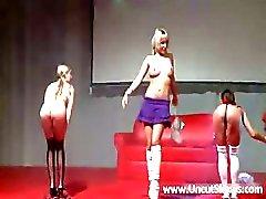 Three sexy schoolgirl stripping