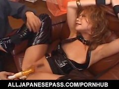 Naughty Asian chick Akane Hotaru is fucked hard with many sex toys