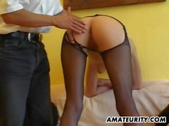 Amateur girlfriend gets toyed and fucked by 2 guys
