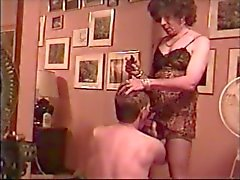 Crossdresser greets lover