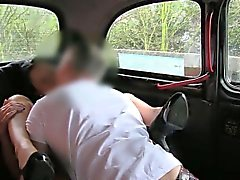 Busty slut fucked with pervert driver in the backseat