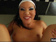 Asian slut is hungry for his cum