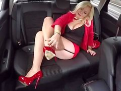 In the Car with Malene in FF stockings mini skirt High Heels