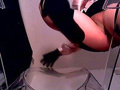 Erotic hypnotist in shiny pantyhose and stockings