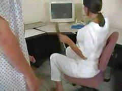 Nurse Gives An Oily Handjob Till Get Cumshot On Cup