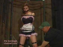 Candle kinky maid gagged and bound