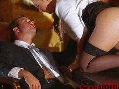 Stunning redhead secretary seducing her boss