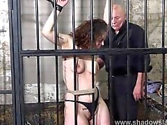 Female prisoner whipping and harsh bondage punishments of amateur bdsm slav