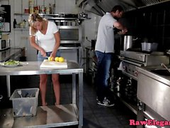 Euro gal anally creamed in restaurant kitchen