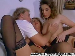 Amateur threesome action with cum in mouth !