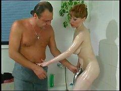 horny busty daugther sprayed b$r