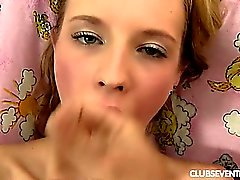 Beauty teen Angel swallows sperm
