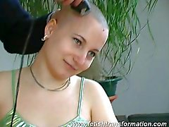 crazy girl real hair shaved