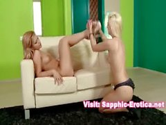 Two beautiful blondes in a real girl girl sex scene