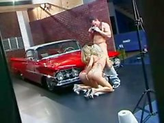 Two hot blonde MILF's suck his cock by the old classic car and get drilled
