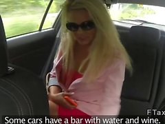 Blonde in thong fucking in fake taxi pov