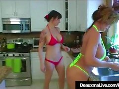 Texas Cougar Deauxma Eats Angie Noir's Pussy In The Kitchen!