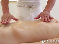FantasyHD Petite brunette Kasey Warner massage fuck happy ending