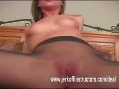 Spreading pantyhosed legs