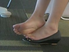 Candid Asian Soles in Black Open-Toed Flats