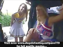 Two amazing lesbian chicks kissing on the car