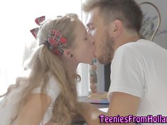 Pigtailed teen guzzles