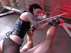 sexy Mistress destroys slaves ass