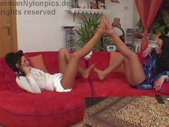Girman Girls in Pantyhose Playing with Feet]]