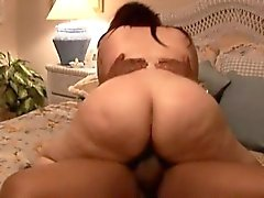 Horny brunette BBW takes a big cock hilt-deep into her fat pussy