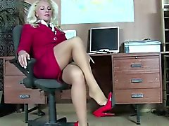 Devilishly sexy pantyhose blonde